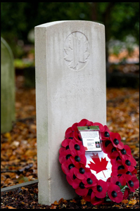 Headstone with wreath